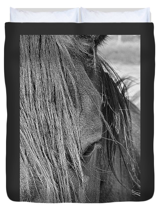 Horse Duvet Cover featuring the photograph Eye Of Seven by Diana Cannon
