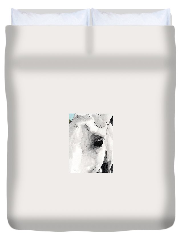 Horse Paintings Duvet Cover featuring the painting Eye Of The Beauty by Anna Katherine