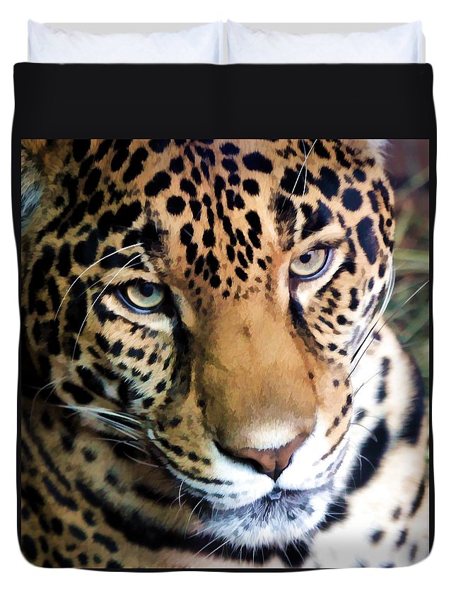 Leopard Duvet Cover featuring the photograph Eye Of The Leopard by Athena Mckinzie