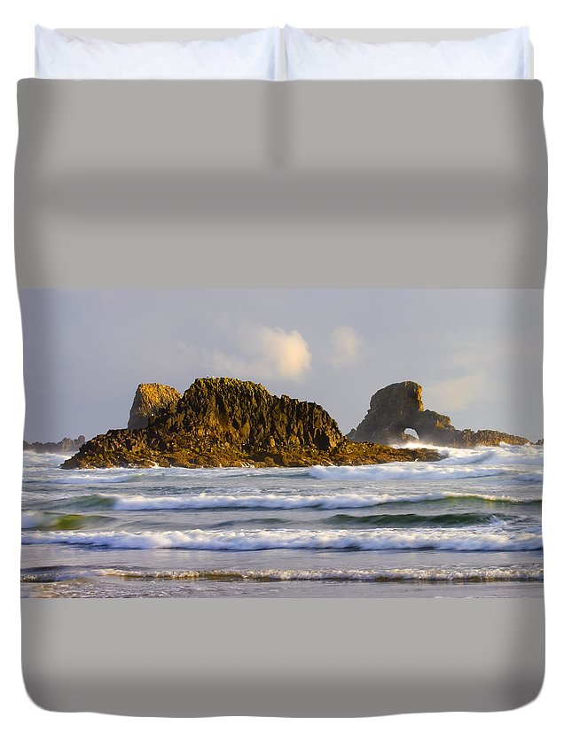 Seastacks Duvet Cover featuring the photograph Eye Of The Storm by Mike Dawson