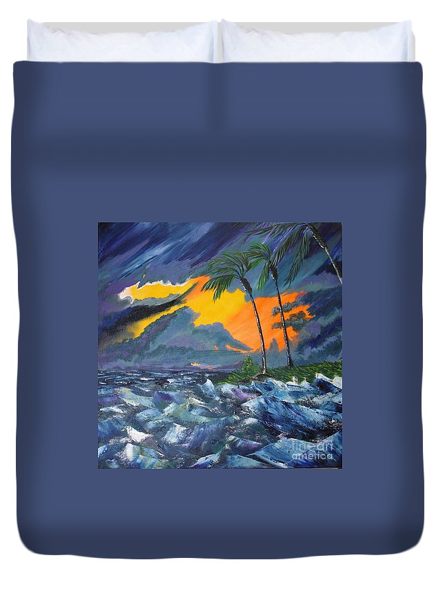 Knifework Duvet Cover featuring the painting Eye Of The Storm by Susan Kubes