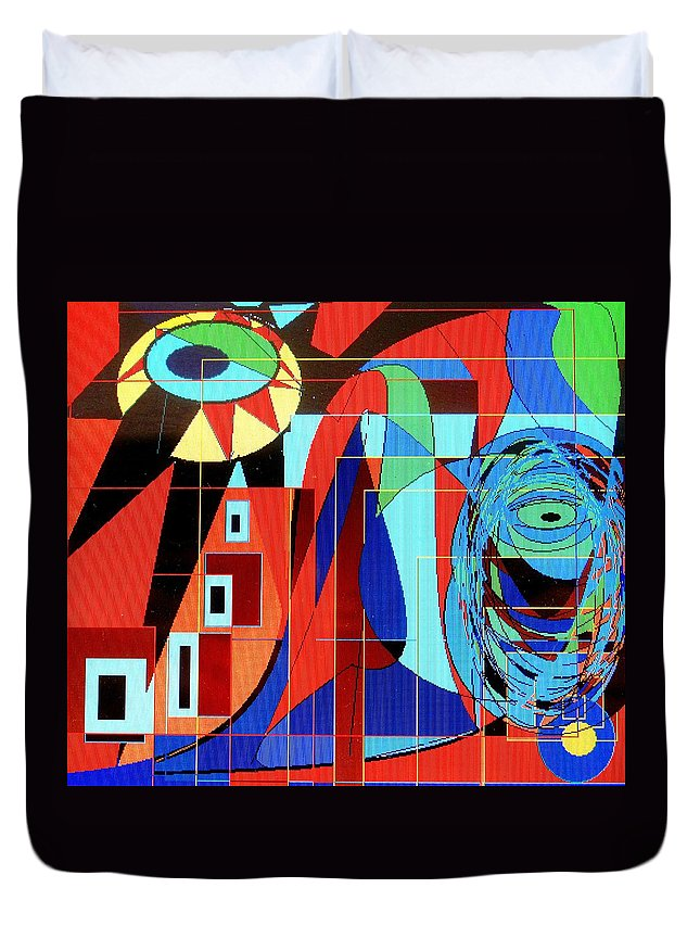 Eye Duvet Cover featuring the digital art Eye Of The Tiger by Ian MacDonald
