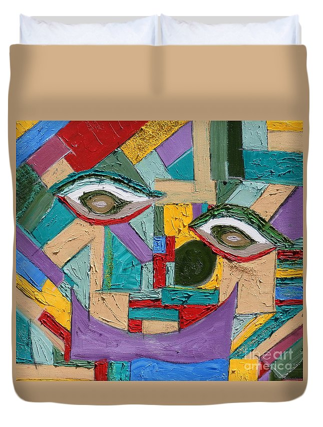 Face Duvet Cover featuring the painting Eye To Eye To Eye by Dawn Hough Sebaugh