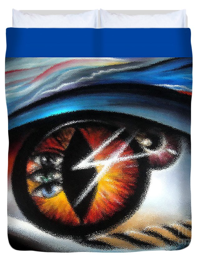 Eye Duvet Cover featuring the digital art Eyes Of Immortal Soul by Sofia Metal Queen