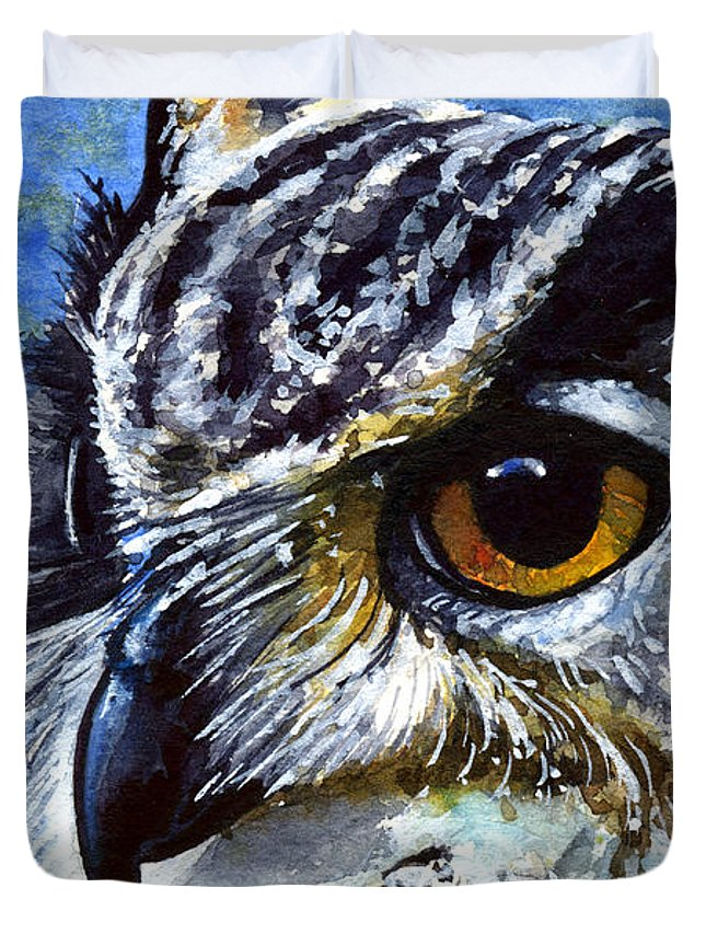Owls Duvet Cover featuring the painting Eyes Of Owls No.25 by John D Benson