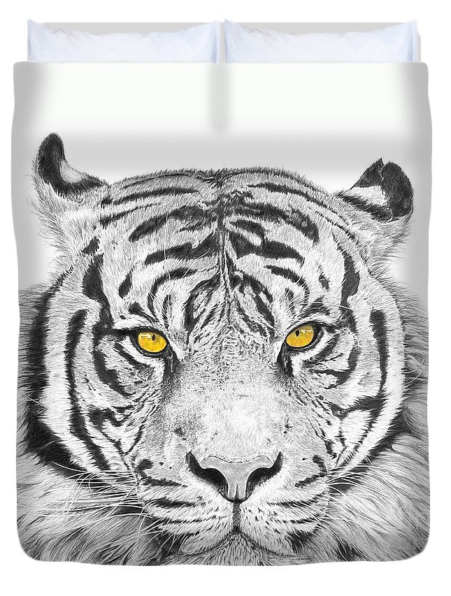 Tiger Duvet Cover featuring the drawing Eyes Of The Tiger by Shawn Stallings