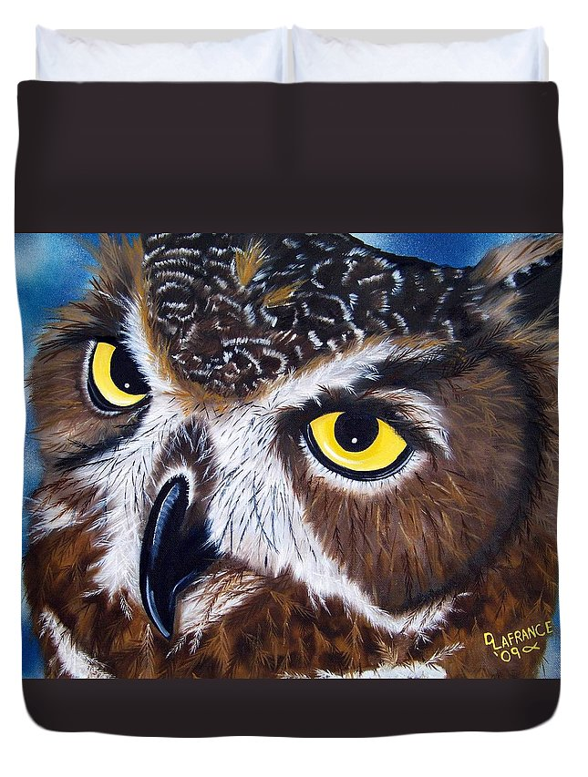 Owl Duvet Cover featuring the painting Eyes Of Wisdom by Debbie LaFrance