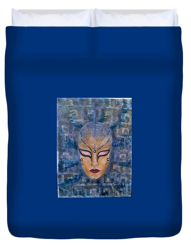 Mask Duvet Cover featuring the painting Eyes Wide Shut by Vi Sarancha