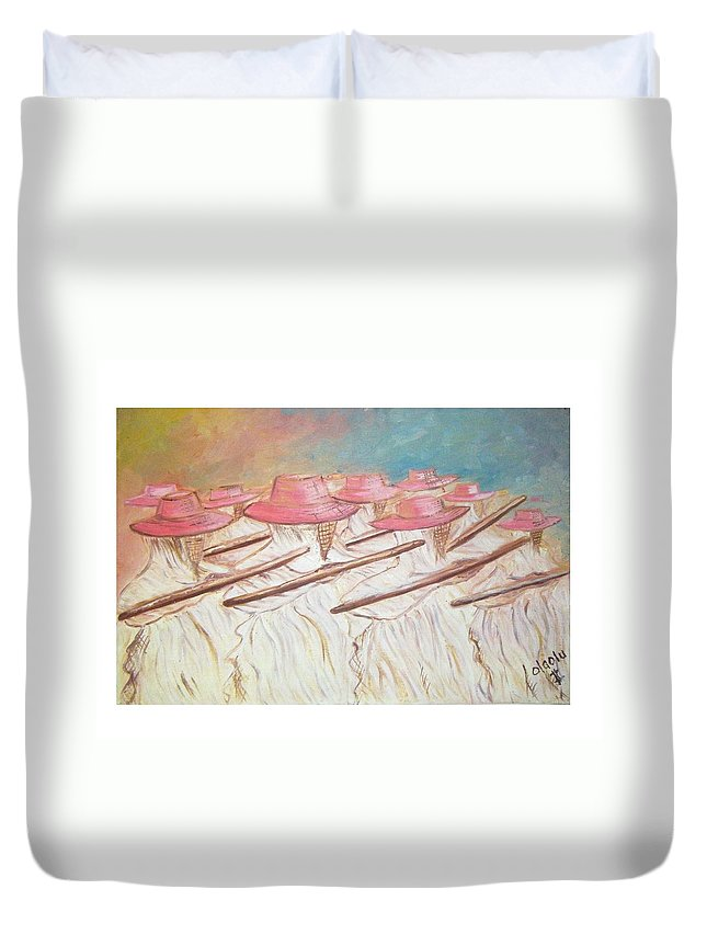Abstract Duvet Cover featuring the painting Eyo Festival by Olaoluwa Smith