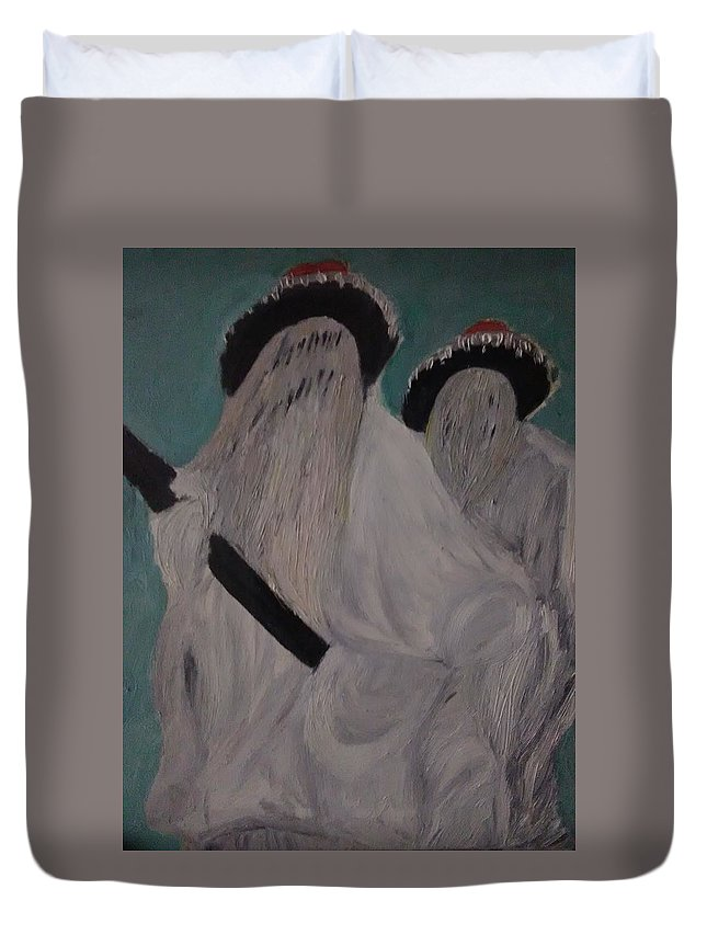Figurative Duvet Cover featuring the painting Eyo Masquerade by Adewale Michael