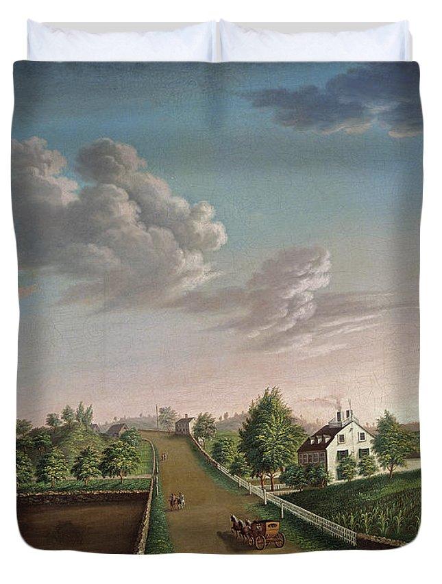 Landscape Duvet Cover featuring the painting Ezekiel Hersey Derby Farm by Michele Felice Corne