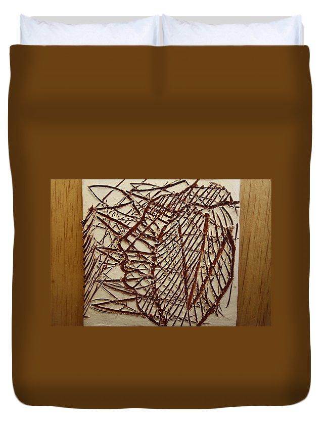 Jesus Duvet Cover featuring the ceramic art Ezra - Tile by Gloria Ssali