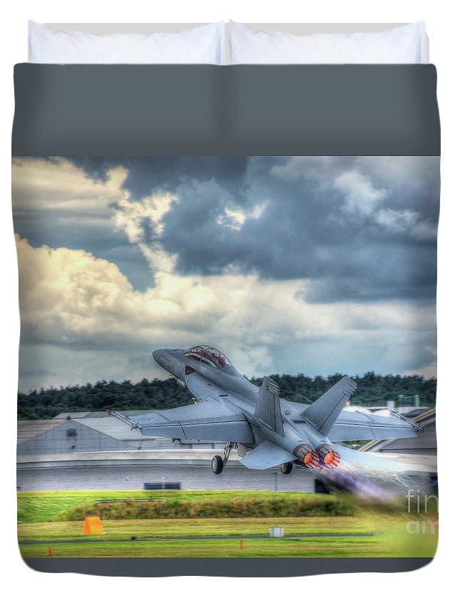 F-18 Duvet Cover featuring the digital art F-18 Hornet Takeoff by Nigel Bangert