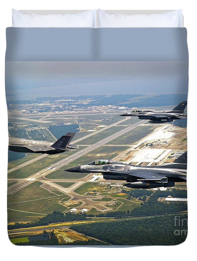 Transportation Duvet Cover featuring the photograph F-35 Lightning II Aircraft In Flight by Stocktrek Images