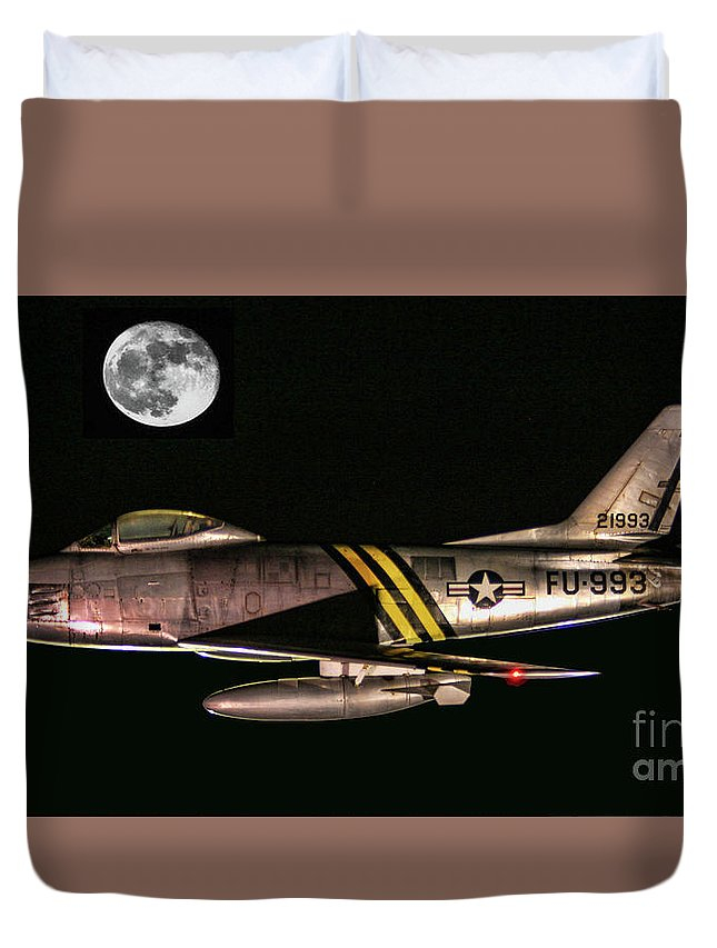North American Duvet Cover featuring the photograph F-86 And The Moon by Tommy Anderson