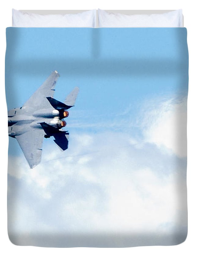 F15 Duvet Cover featuring the photograph F15 - Heatwave by Greg Fortier