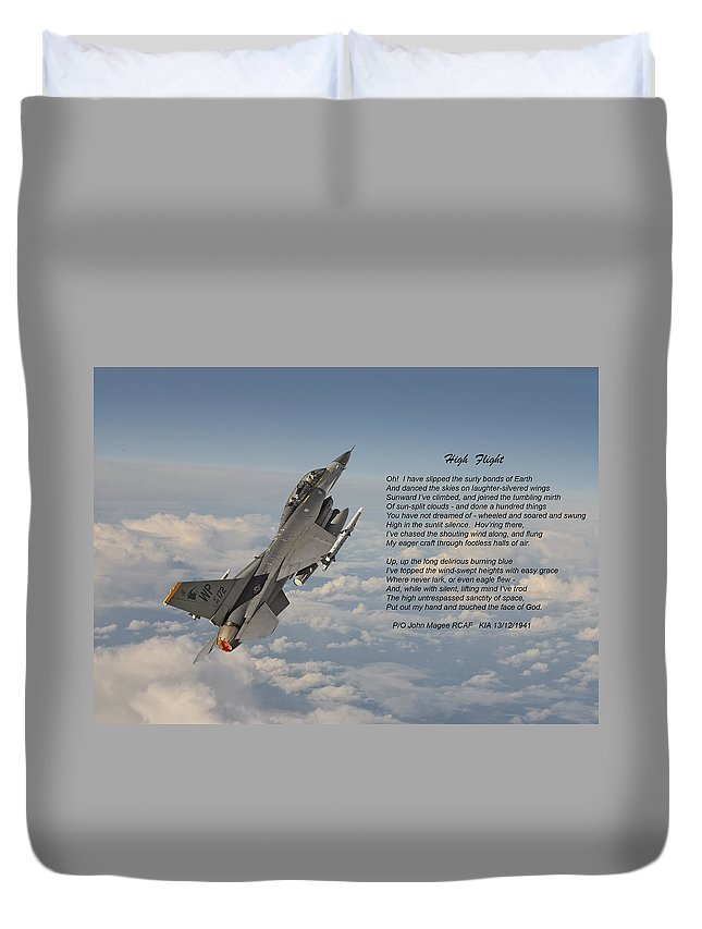 Aircraft Duvet Cover featuring the photograph F16 - High Flight by Pat Speirs