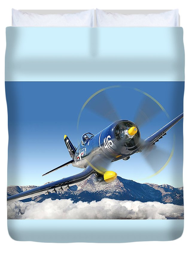 F4-u Corsair Duvet Cover featuring the photograph F4-u Corsair by Larry McManus