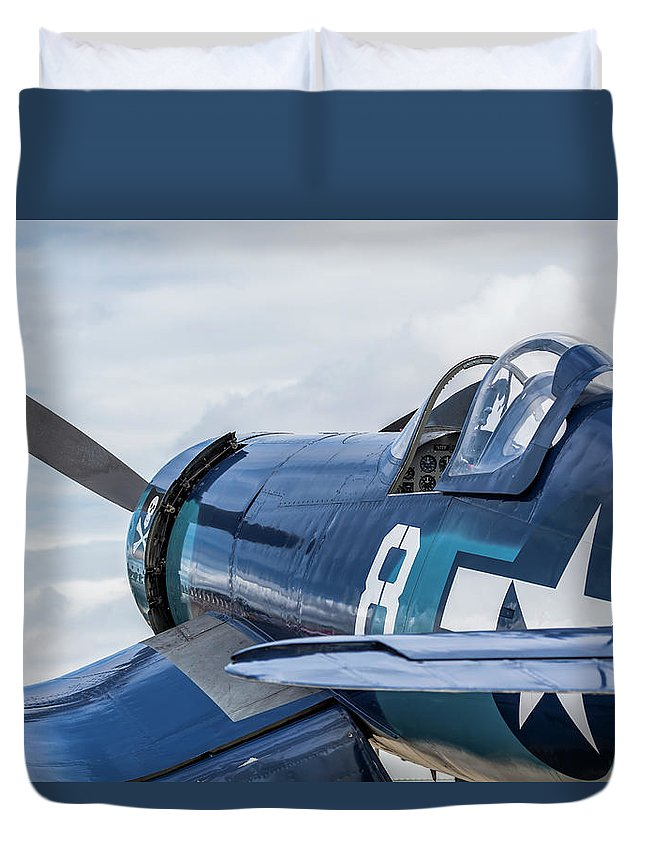 2013 Duvet Cover featuring the photograph F4u Corsair N11y by Mark Loper
