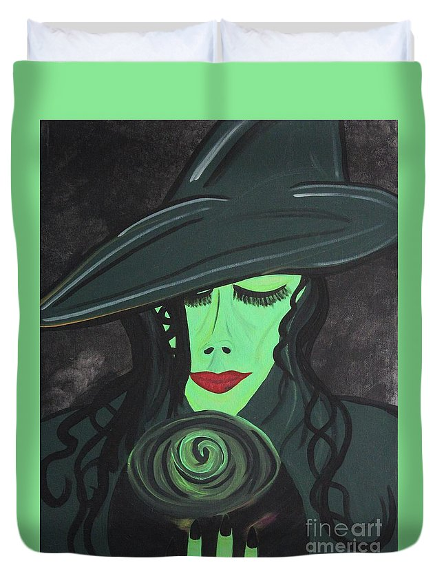 Elphaba Duvet Cover featuring the painting Fabala by LKB Art and Photography
