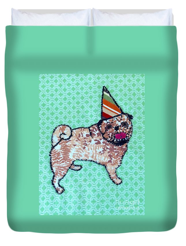 Duvet Cover featuring the tapestry - textile Fabric Pug by Purely Pugs Design