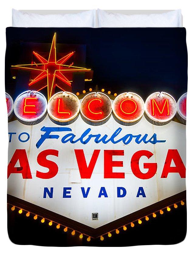 Casino Duvet Cover featuring the photograph Fabulous Las Vegas Sign by Steve Gadomski