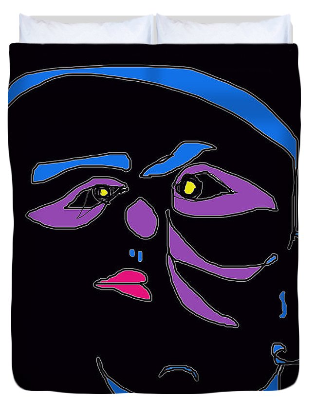 Collage Duvet Cover featuring the digital art Face 1 On Black by John Vincent Palozzi