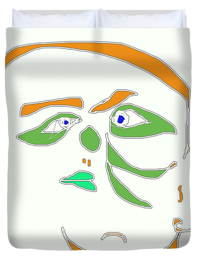 Collage Duvet Cover featuring the digital art Face 1 On White by John Vincent Palozzi
