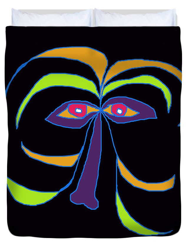 Collage Duvet Cover featuring the digital art Face 2 On Black by John Vincent Palozzi
