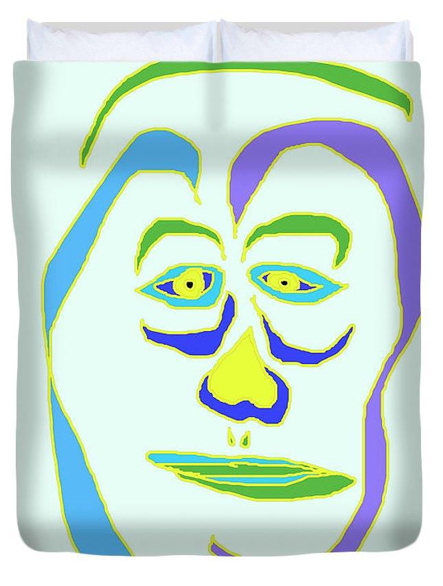 Collage Duvet Cover featuring the digital art Face 5 On Light Blue by John Vincent Palozzi
