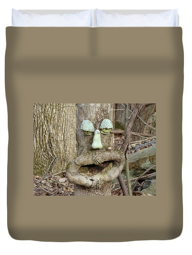 Tree Duvet Cover featuring the photograph Face In The Woods by Mother Nature