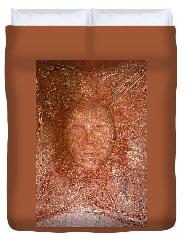 Mask Duvet Cover featuring the painting Face In Wall by Melissa Wiater Chaney