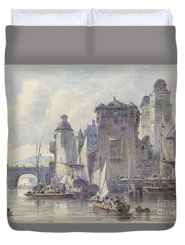 Face Koblenz Duvet Cover featuring the painting Face Koblenz by Celestial Images