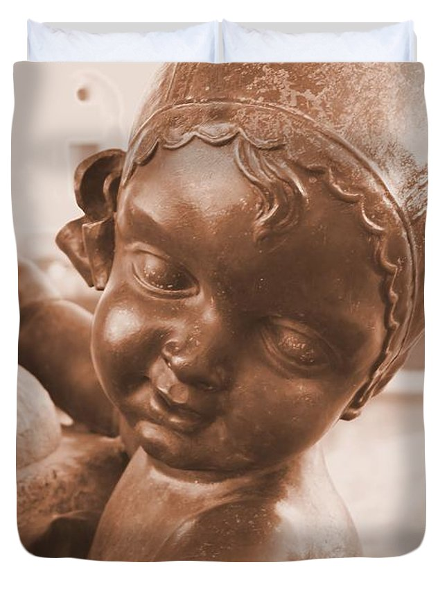 Angel Duvet Cover featuring the photograph Face Of An Angel by Mark Huebner