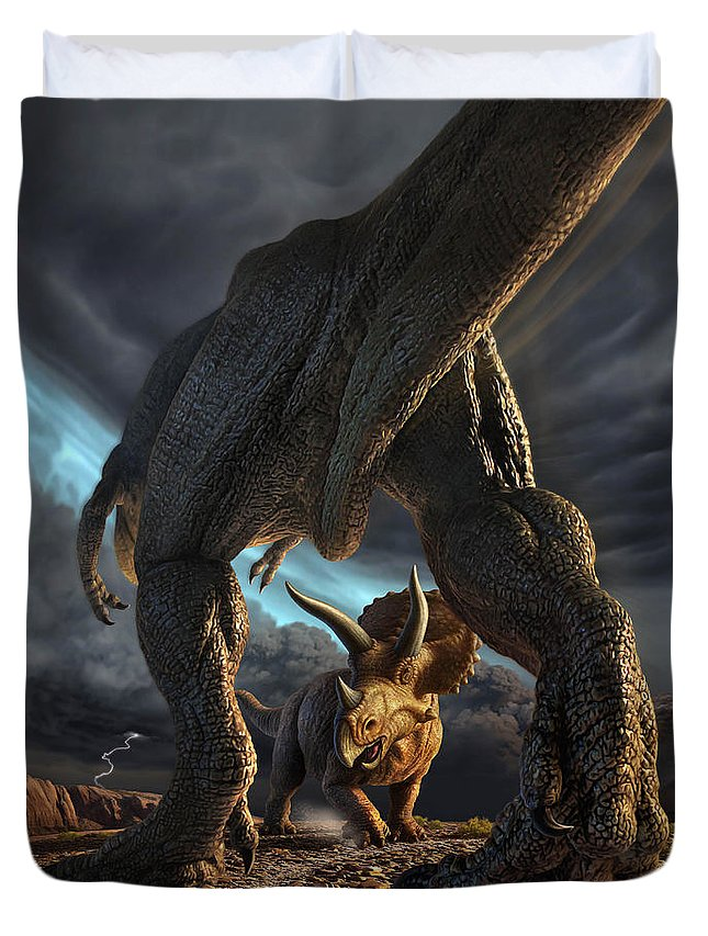 Dinosaur Duvet Cover featuring the digital art Face Off by Jerry LoFaro