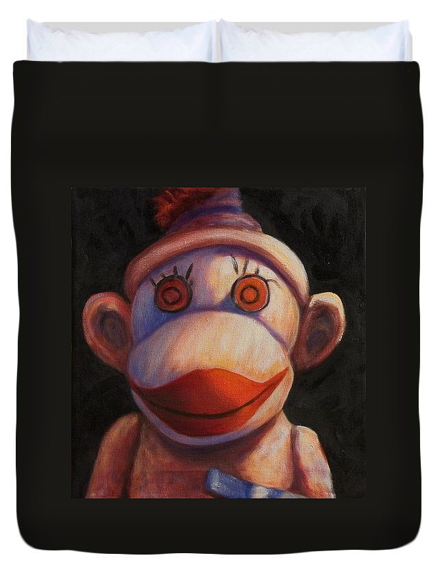 Children Duvet Cover featuring the painting Face by Shannon Grissom