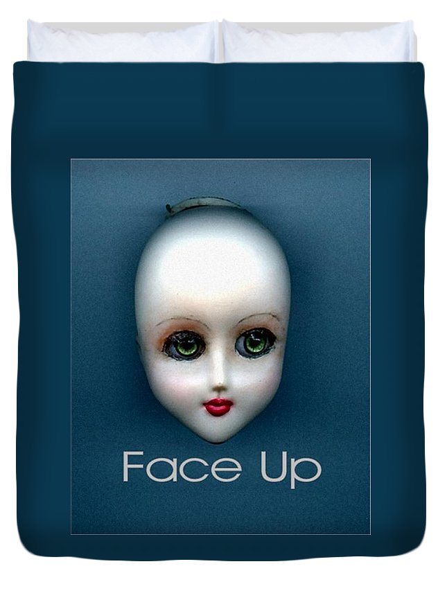 Face Up Duvet Cover featuring the photograph Face Up by T Cook