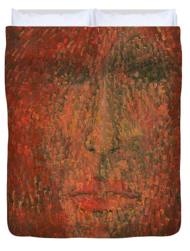 Colour Duvet Cover featuring the painting Face by Wojtek Kowalski