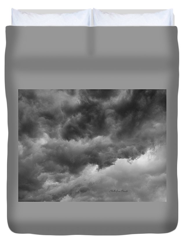 Clouds Duvet Cover featuring the photograph Faces In The Mist Of Chaos by ChelleAnne Paradis