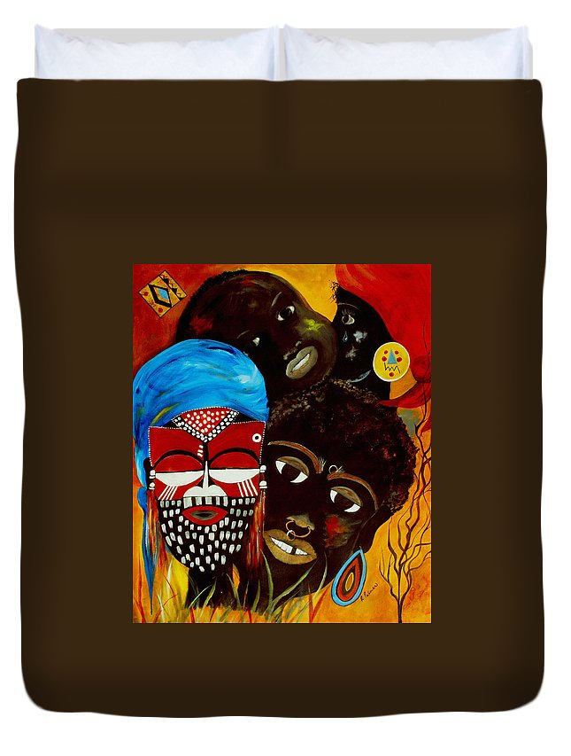 Abstract Duvet Cover featuring the painting Faces Of Africa by Ruth Palmer