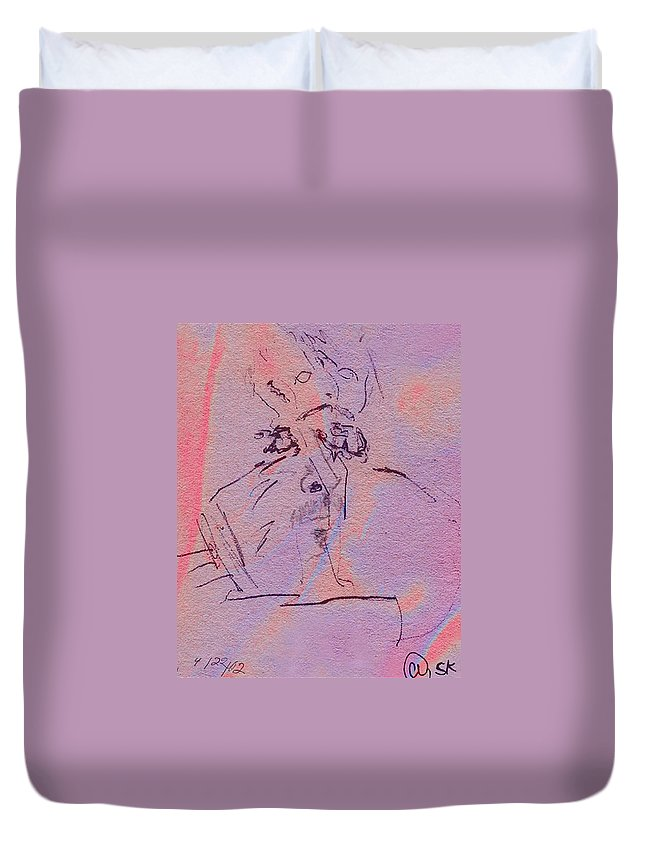Abstract Duvet Cover featuring the mixed media Faces Of Trivia by Steve Karol