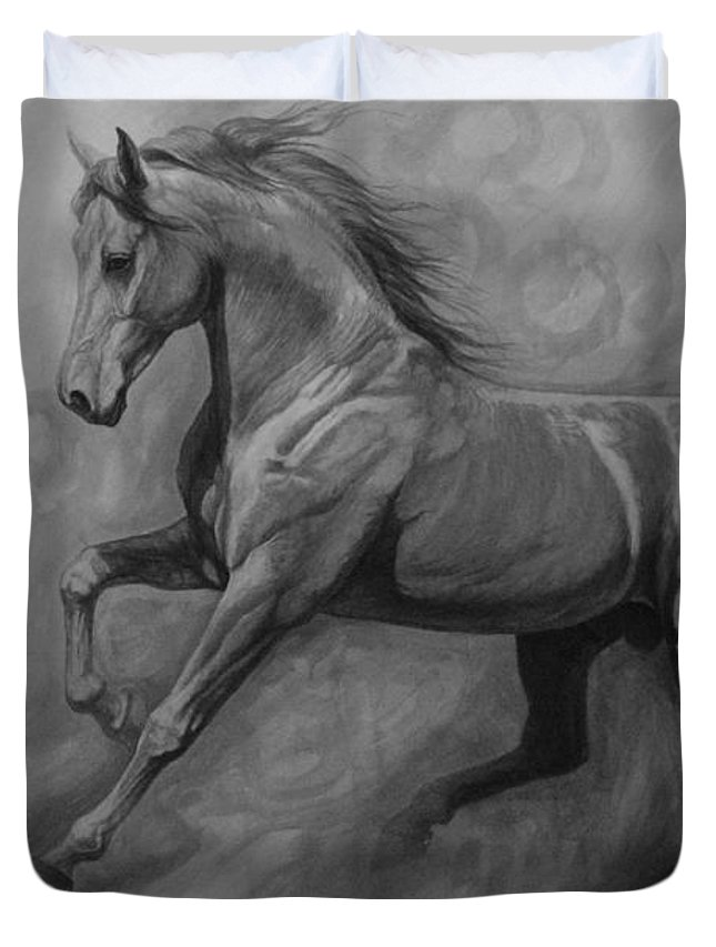 Horse Duvet Cover featuring the painting Fade To Grey by Silvana Gabudean Dobre
