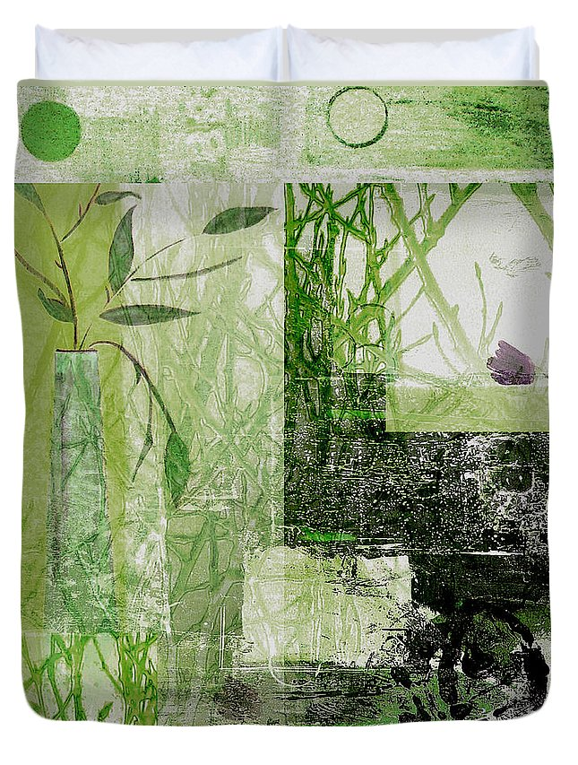Abstract Duvet Cover featuring the mixed media Faded Floral by Ruth Palmer
