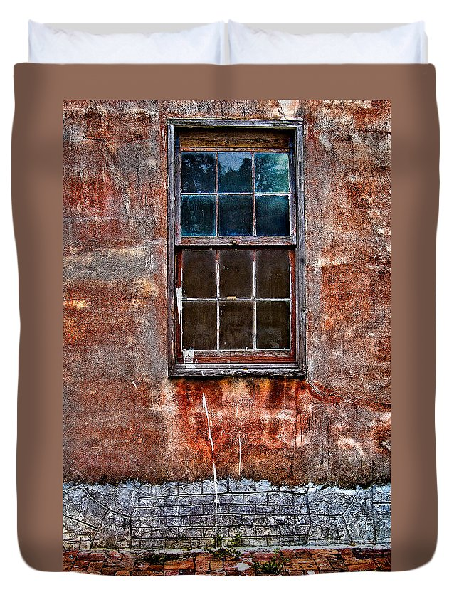Window Duvet Cover featuring the photograph Faded Over Time by Christopher Holmes