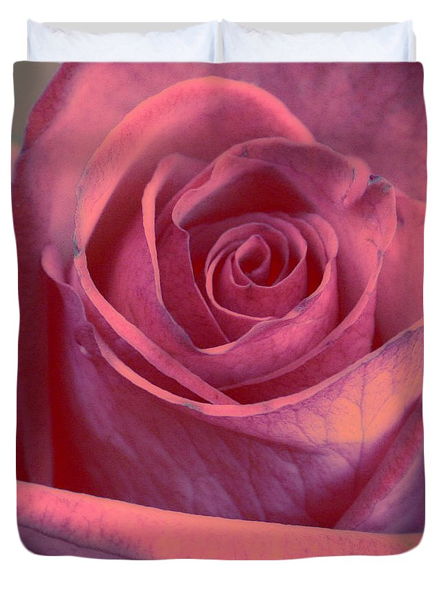 Rose Art Duvet Cover featuring the photograph Faded Rose by Linda Sannuti