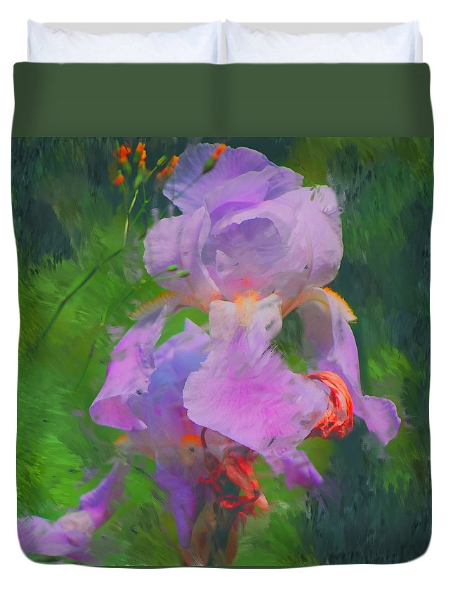 Iris Duvet Cover featuring the painting Fading Glory by David Lane