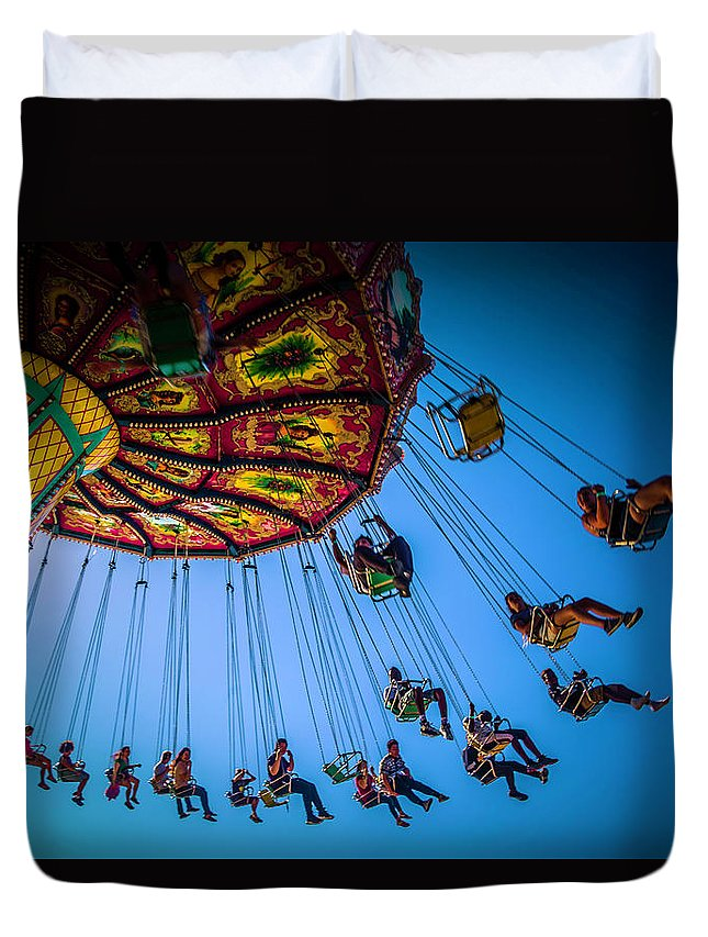 Carnival Swing Duvet Cover featuring the photograph Fair Chair Swinger by Garry Gay