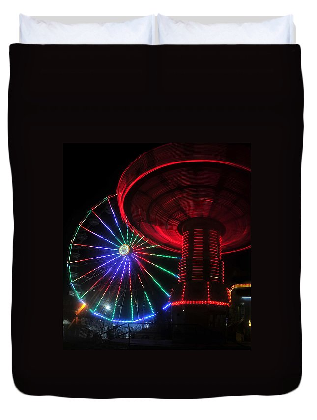 Florida State Fair Duvet Cover featuring the photograph Fair Lights by David Lee Thompson