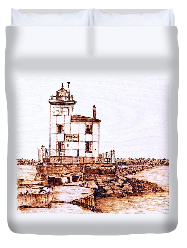 Lighthouse Duvet Cover featuring the pyrography Fair Port Harbor by Danette Smith