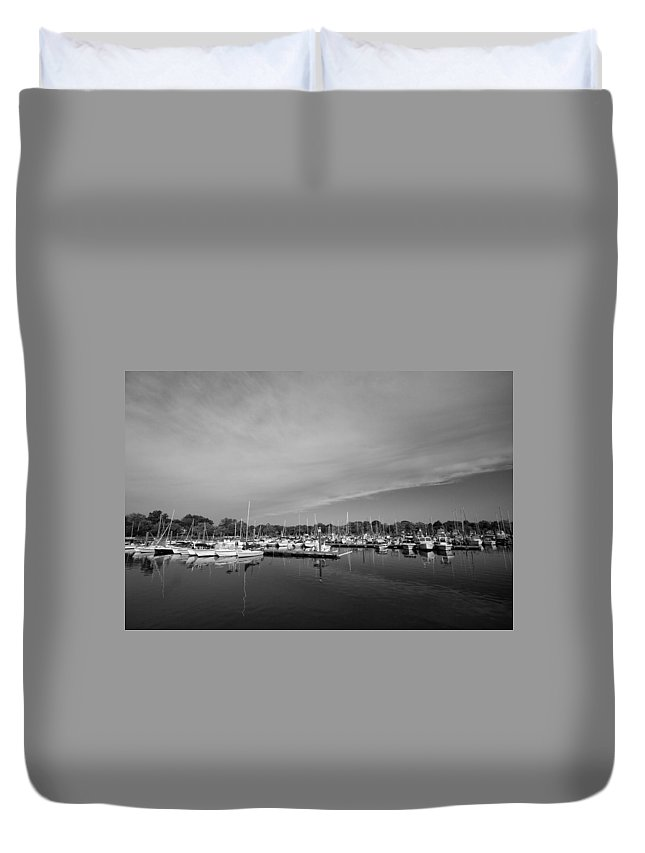 Boats Duvet Cover featuring the photograph Fairfield Marina by Stephanie McDowell